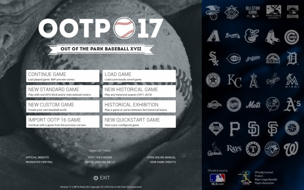 OOTP 17 Main Screen