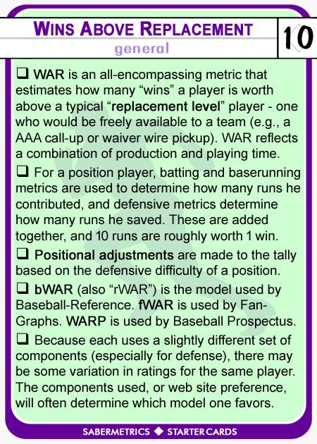 Sabermetrics Starter Baseball Cards 10A - WAR Wins Above Replacement description